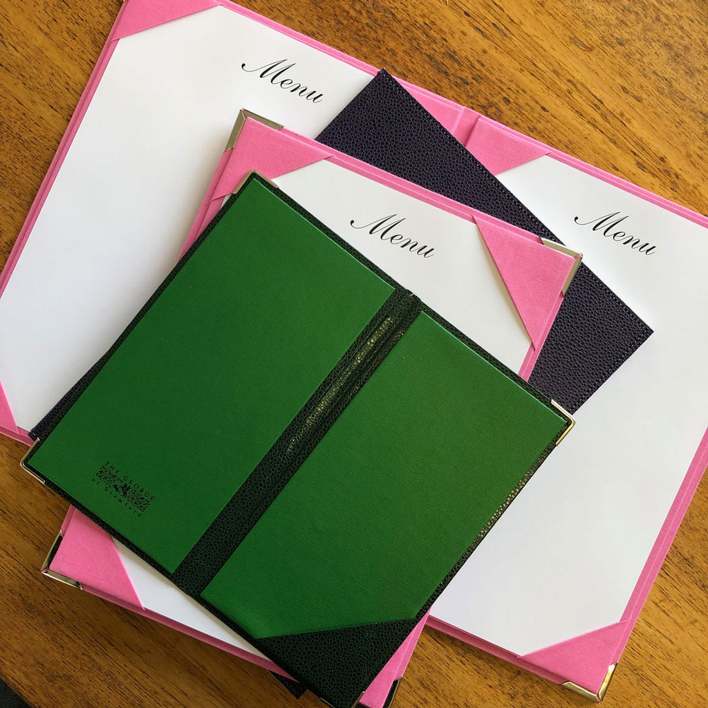 Bespoke Menu Covers made by The Stamford Notebook Company