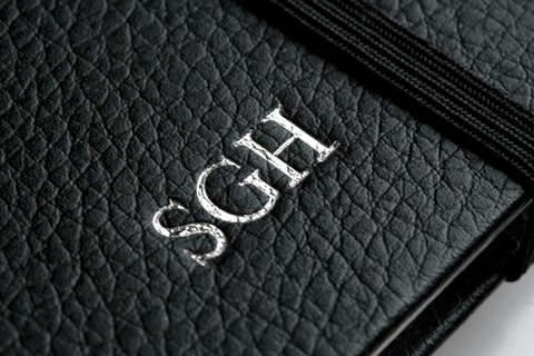 Initials embossed to Personalised Leather Notebook
