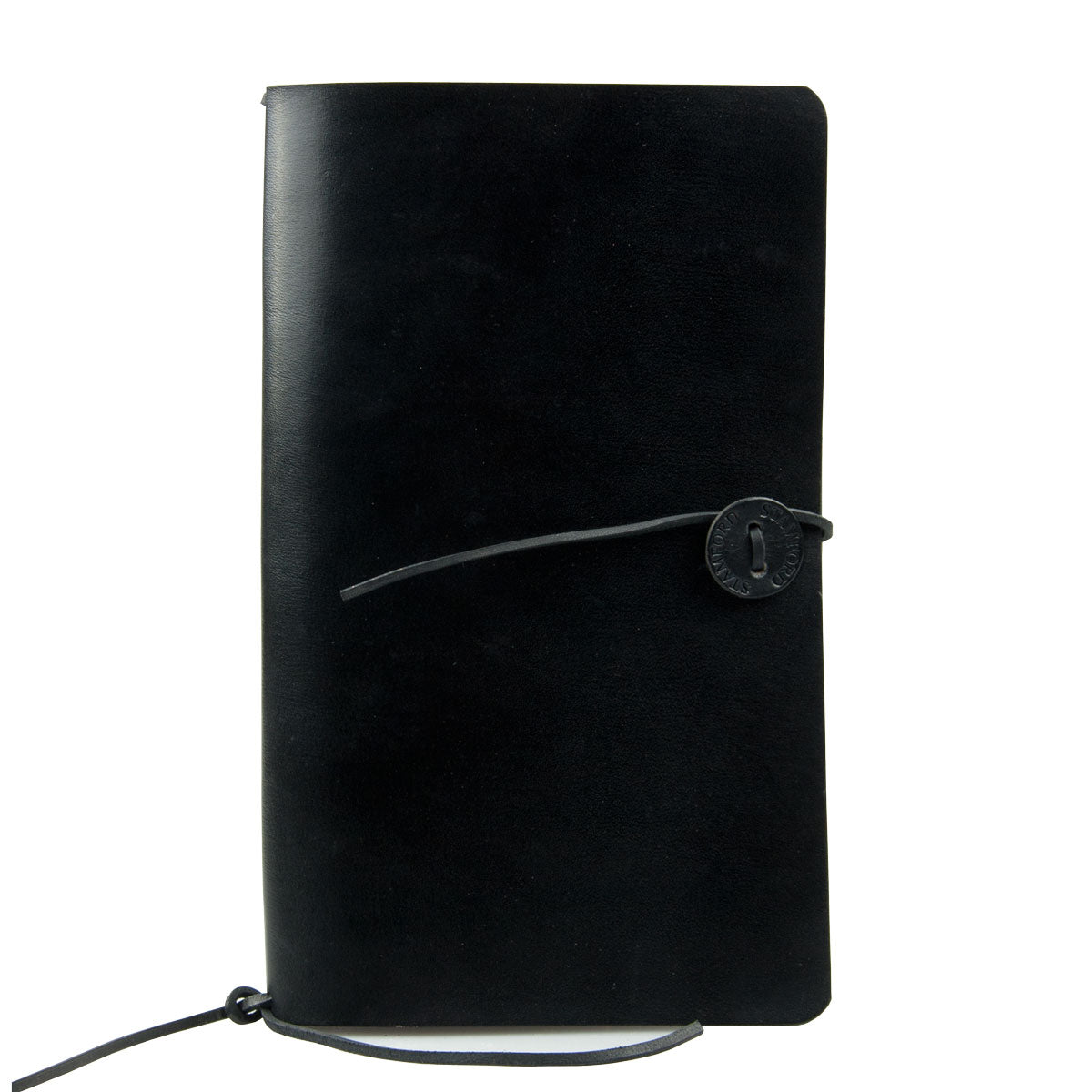 black leather refillable travellers journal