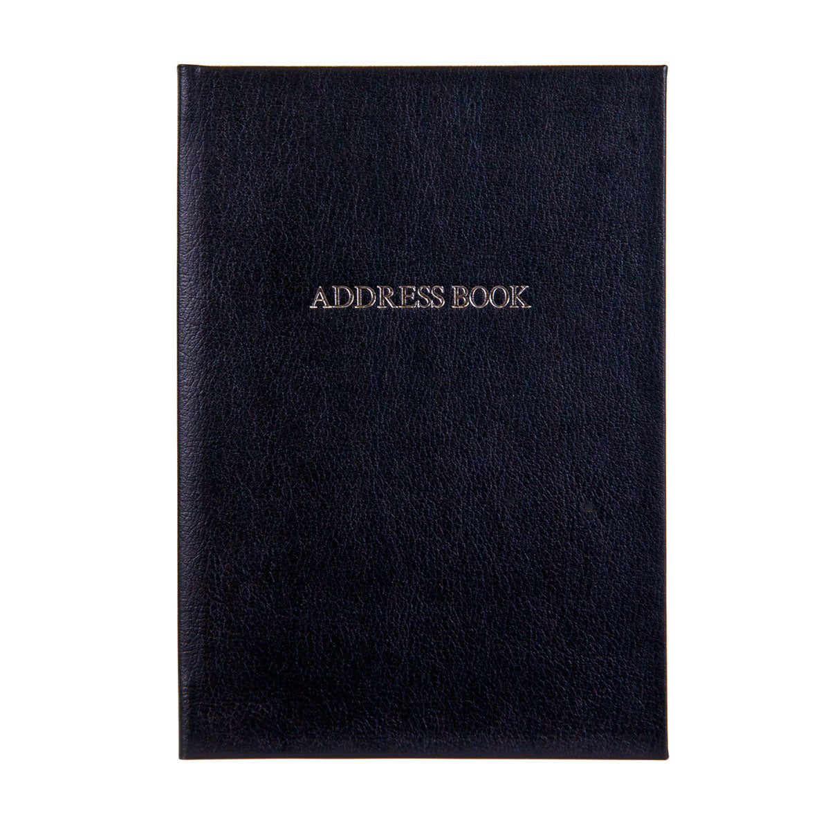 Black Leather Address book with silver embossed title