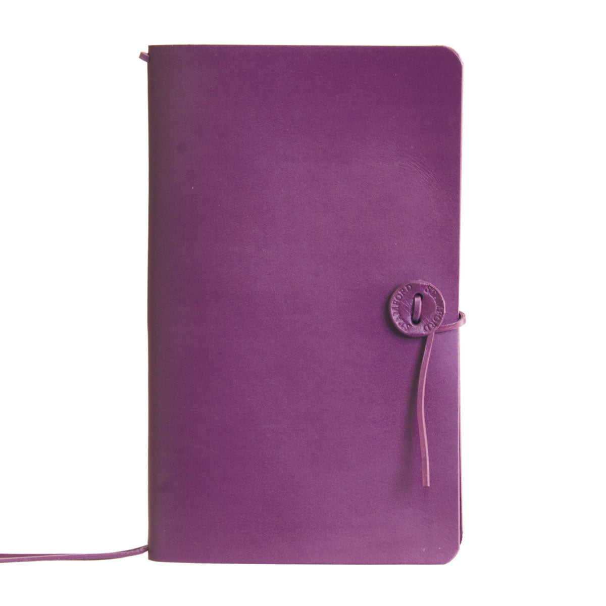 purple leather refillable travellers journal