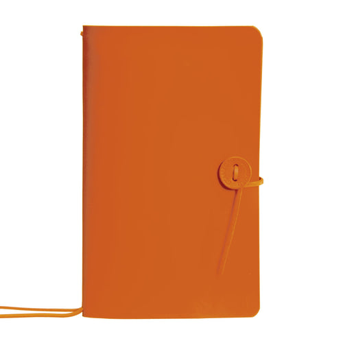 orange leather refillable travellers journal