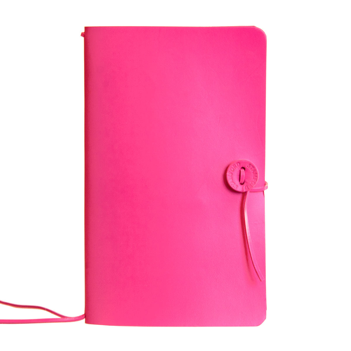 Pink leather refillable travellers journal