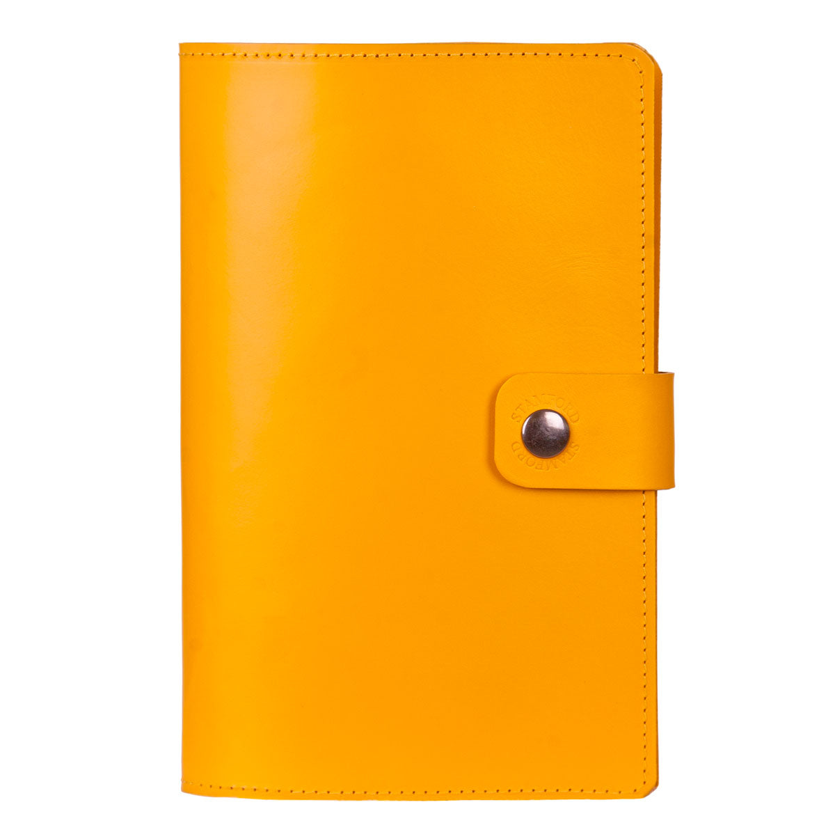 yellow Burghley refillable leather journal