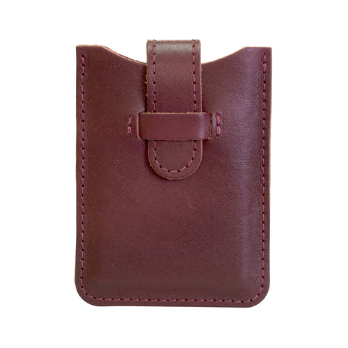 Leather Business Card Holder - Burgundy