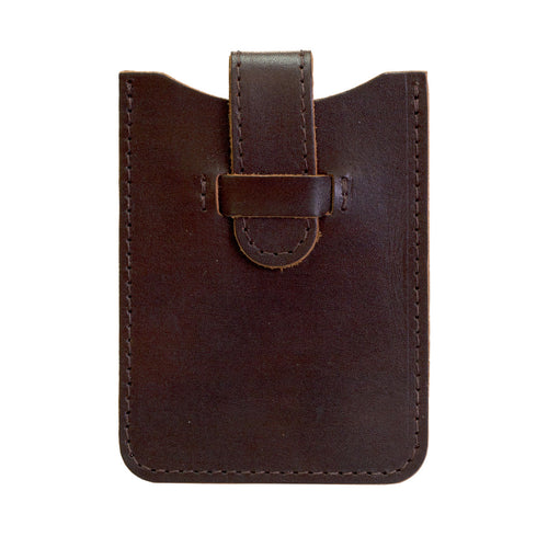 Leather Business Card Holder - Dark Brown