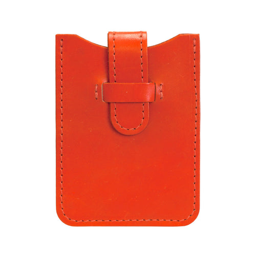 Leather Business Card Holder - Orange