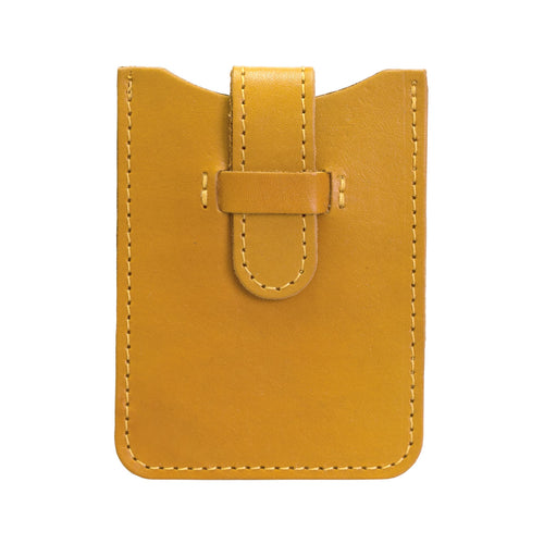 Leather Business Card Holder - Yellow