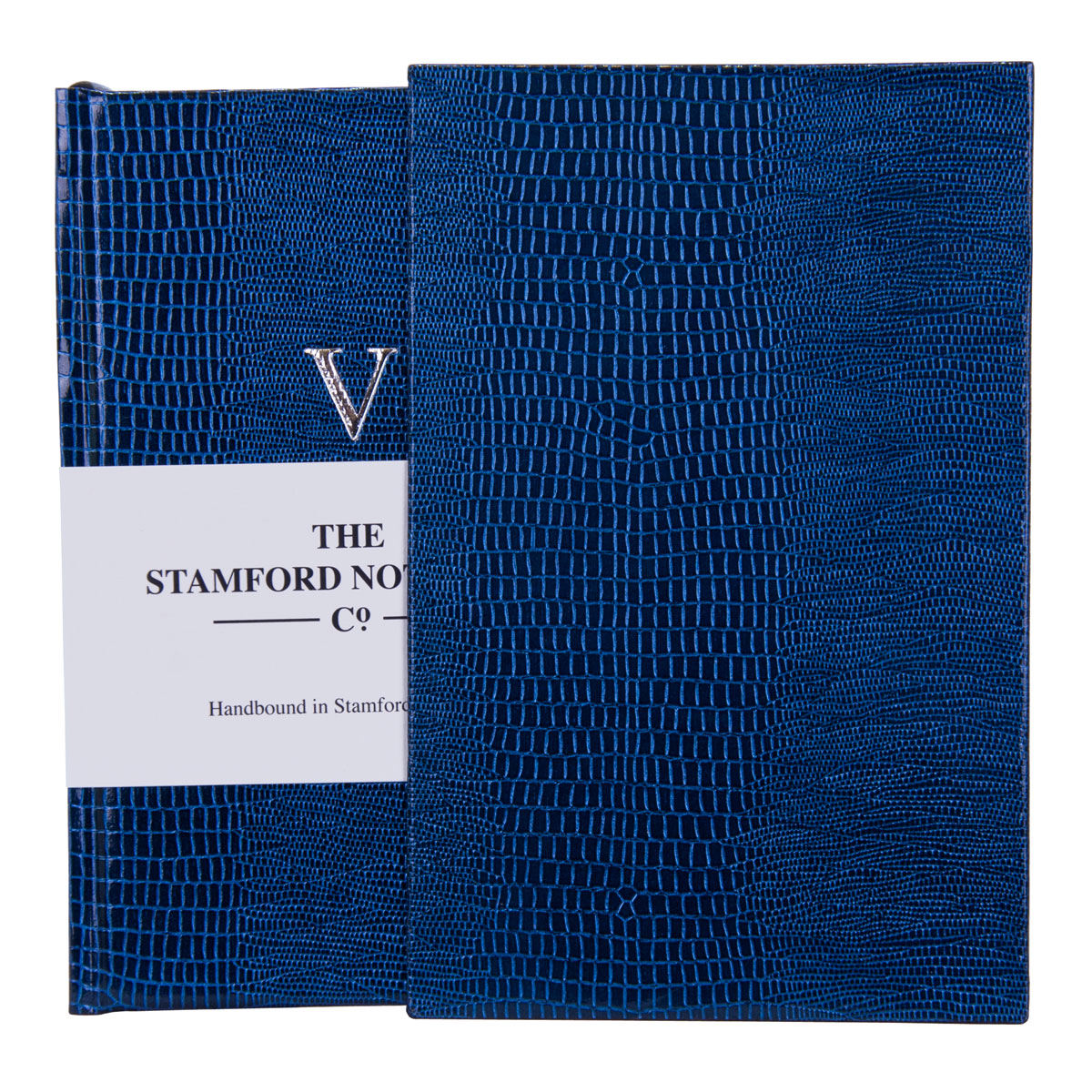 Five Year Diary handbound in Deep Marine Iguana Embossed cover with matching slip case