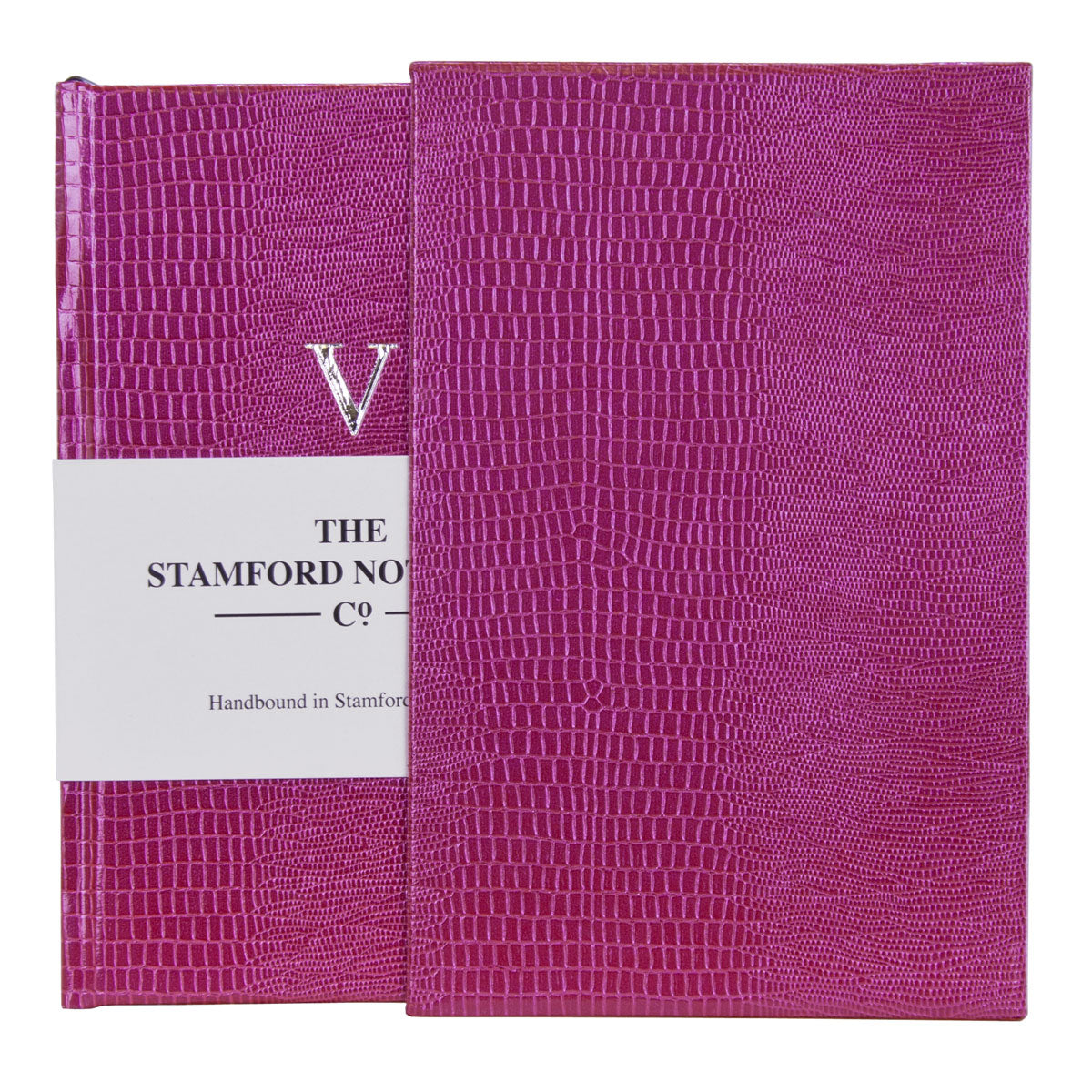 Five Year Diary handbound in Fuxia Iguana Embossed cover with matching slip case