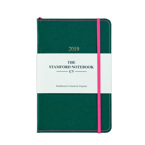 Green leather diary with hot pink stitching
