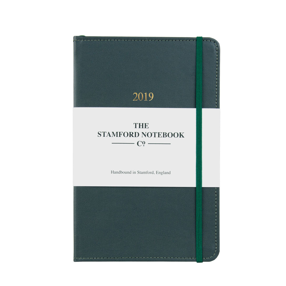 grey leather diary with green stitching
