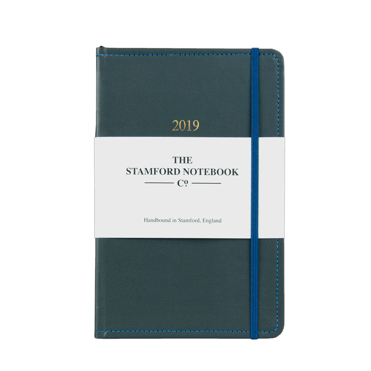 grey leather diary with blue stitching