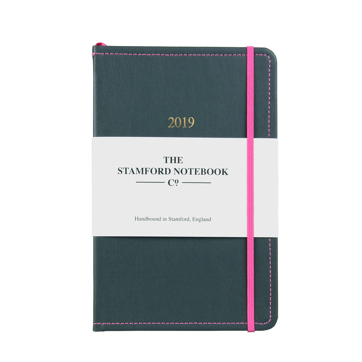 grey leather diary with hot pink stitching