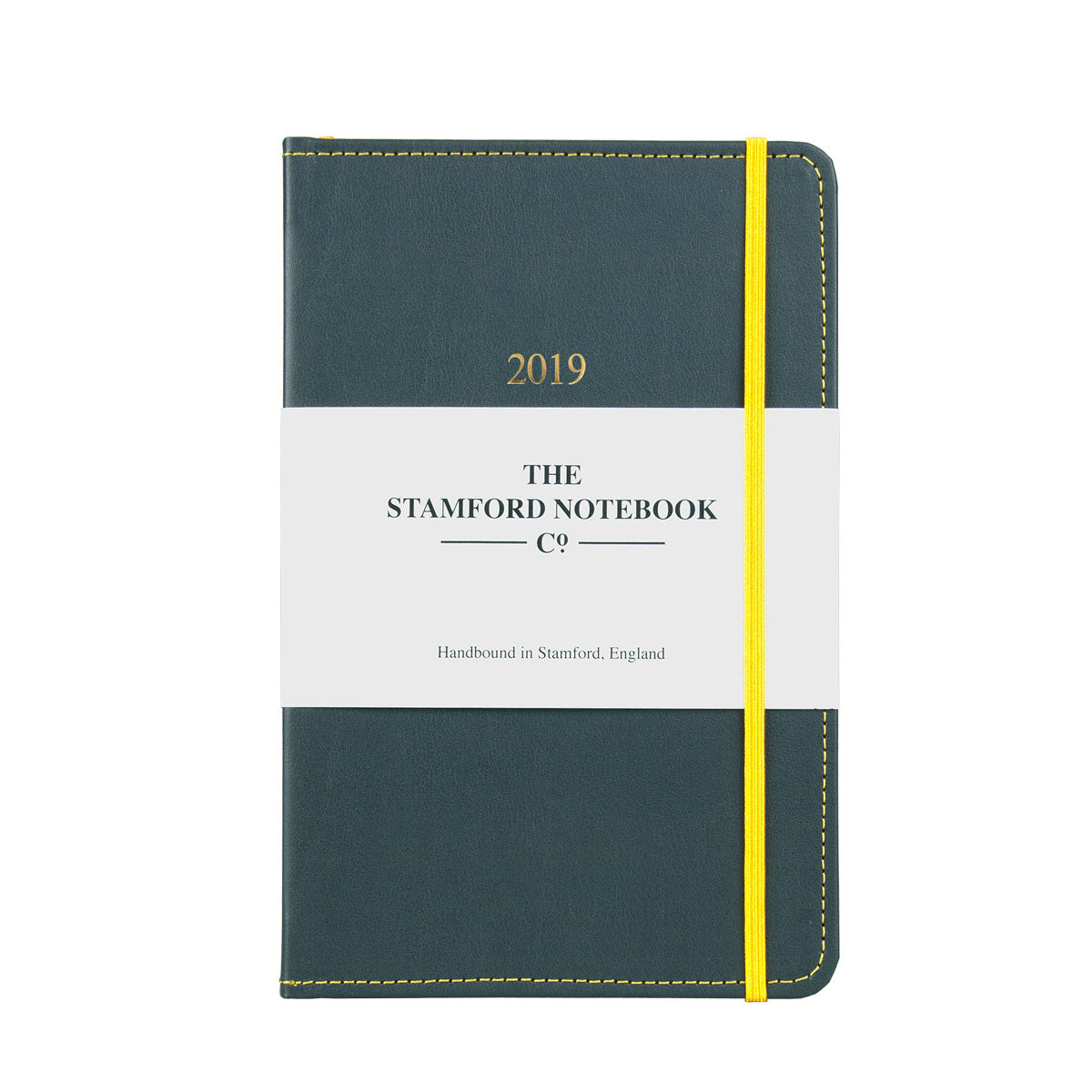 grey leather diary with yellow stitching