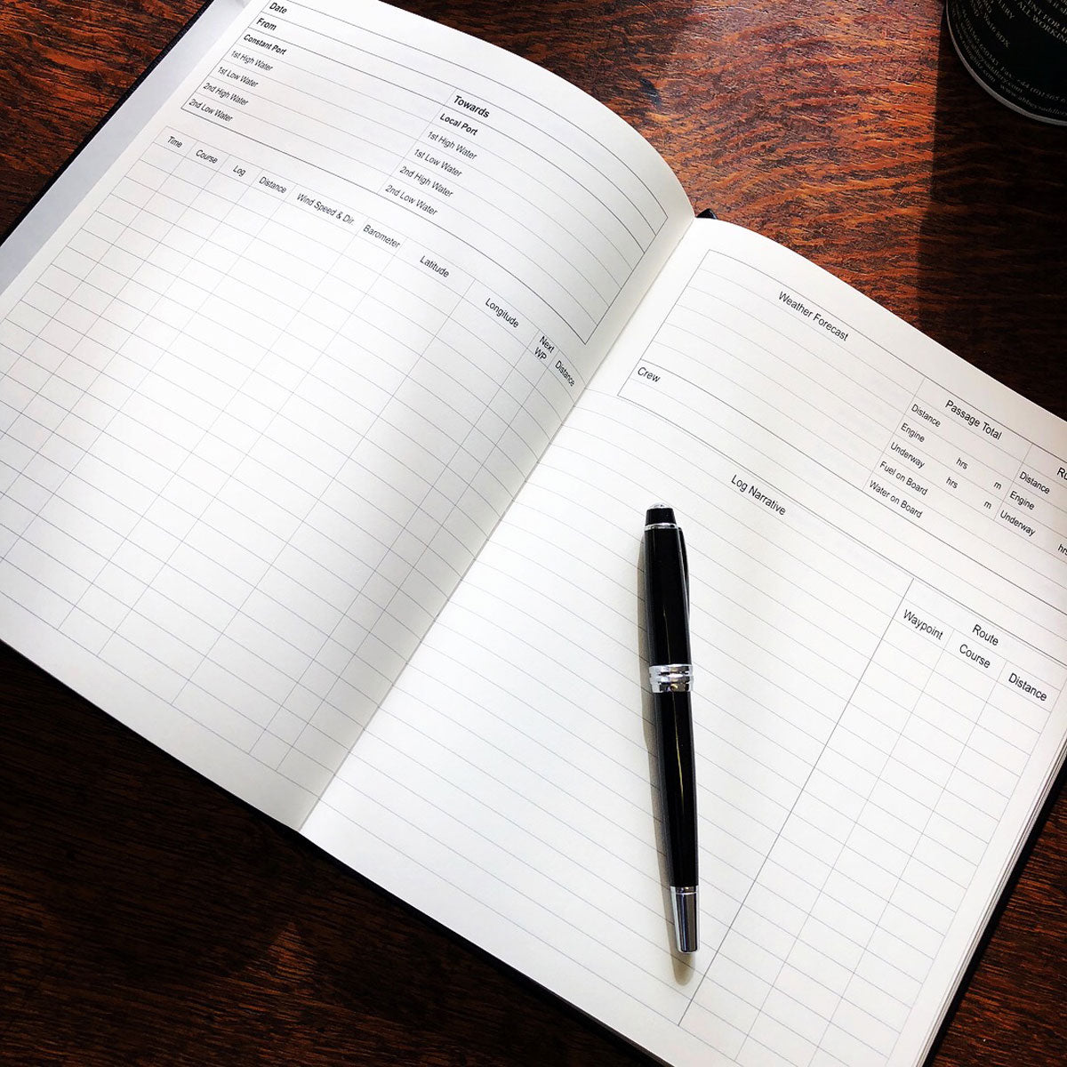 Leather Sailing Log Book - Navy Blue