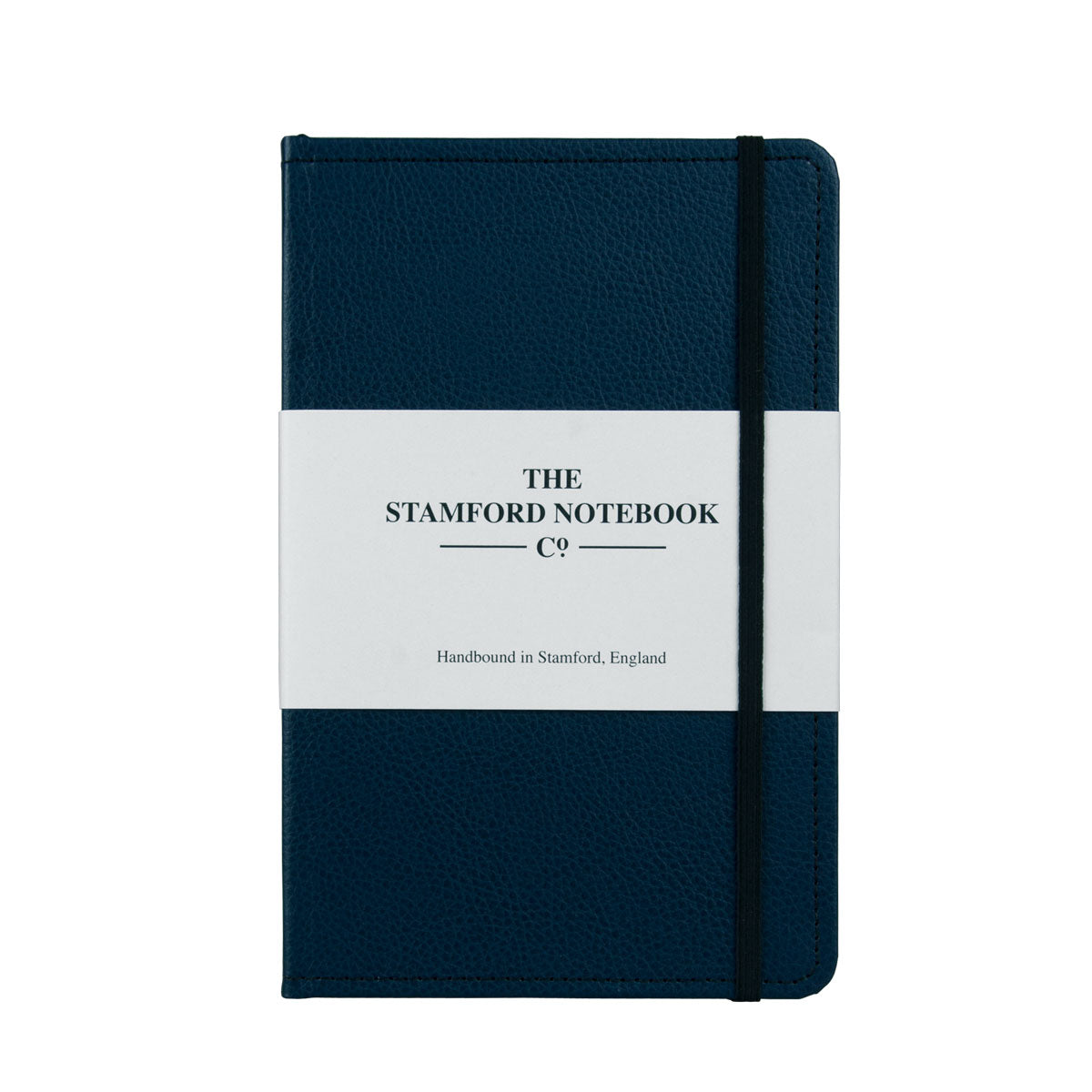 Marine Blue leather notebook with black stitching