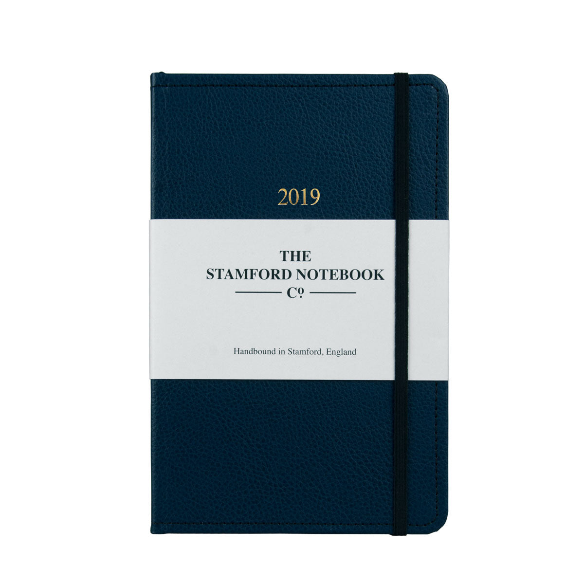Marine Blue leather diary with black stitching