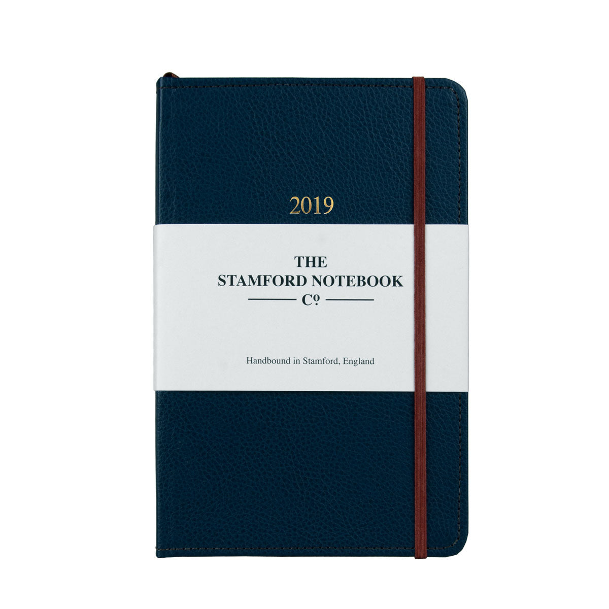 Marine Blue leather diary with brown stitching