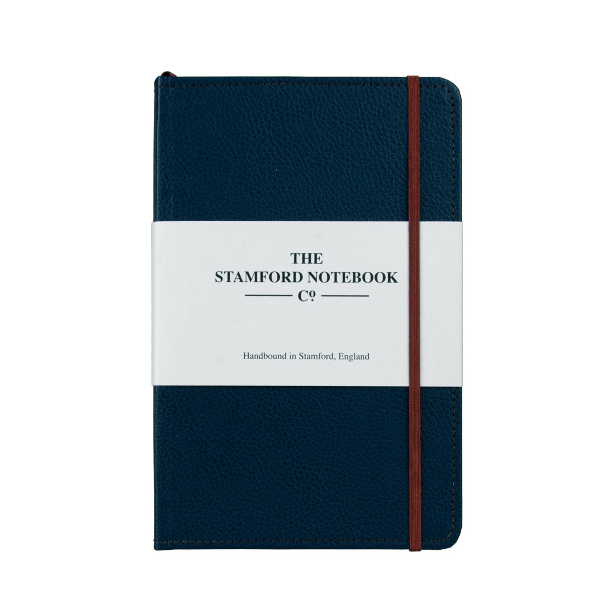 Marine Blue leather notebook with brown stitching