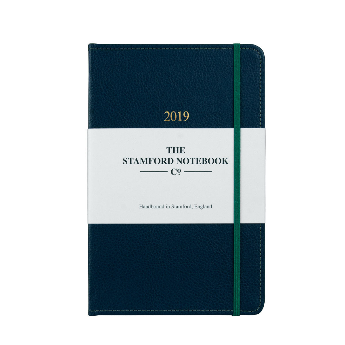Marine Blue leather diary with green stitching