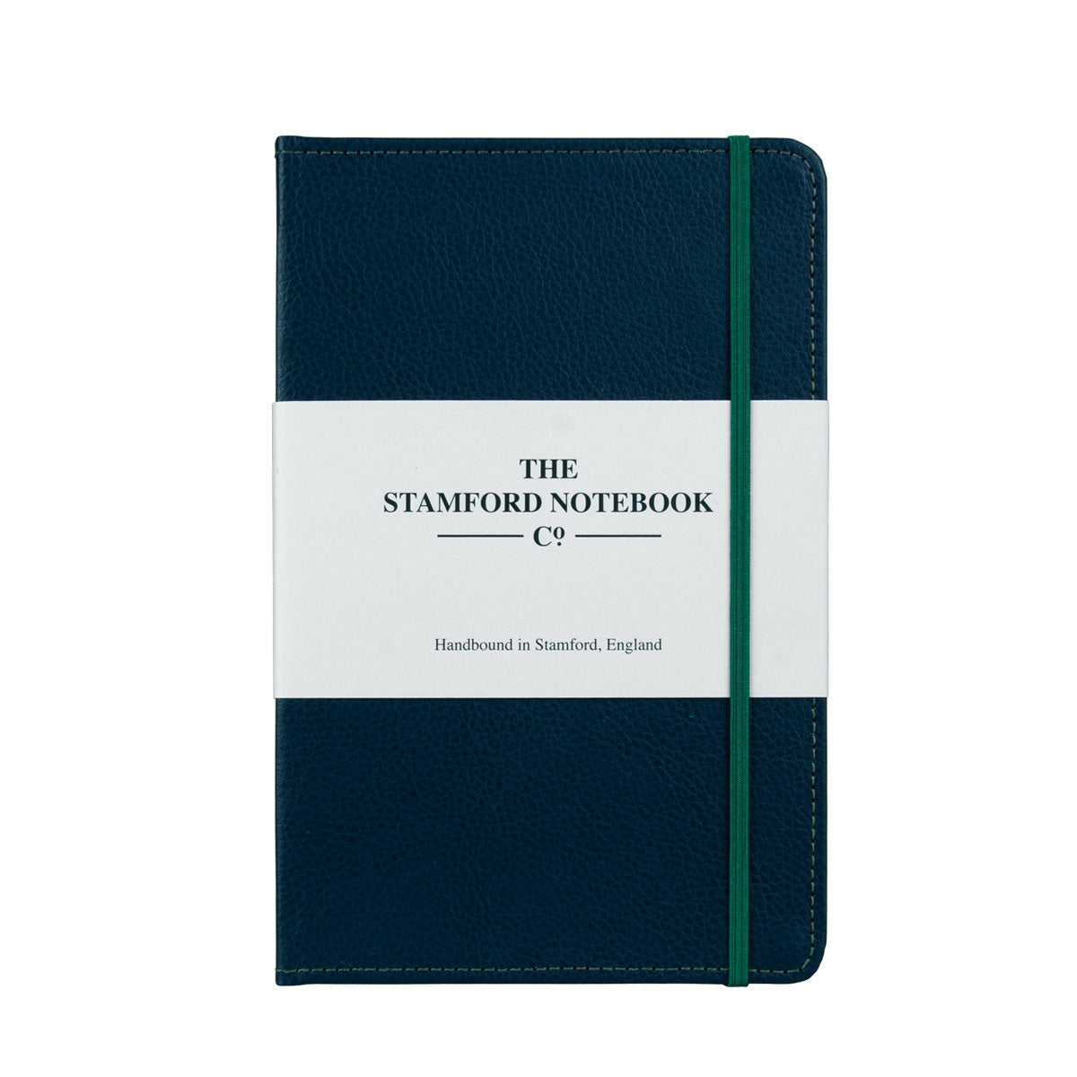 Marine Blue leather notebook with green stitching