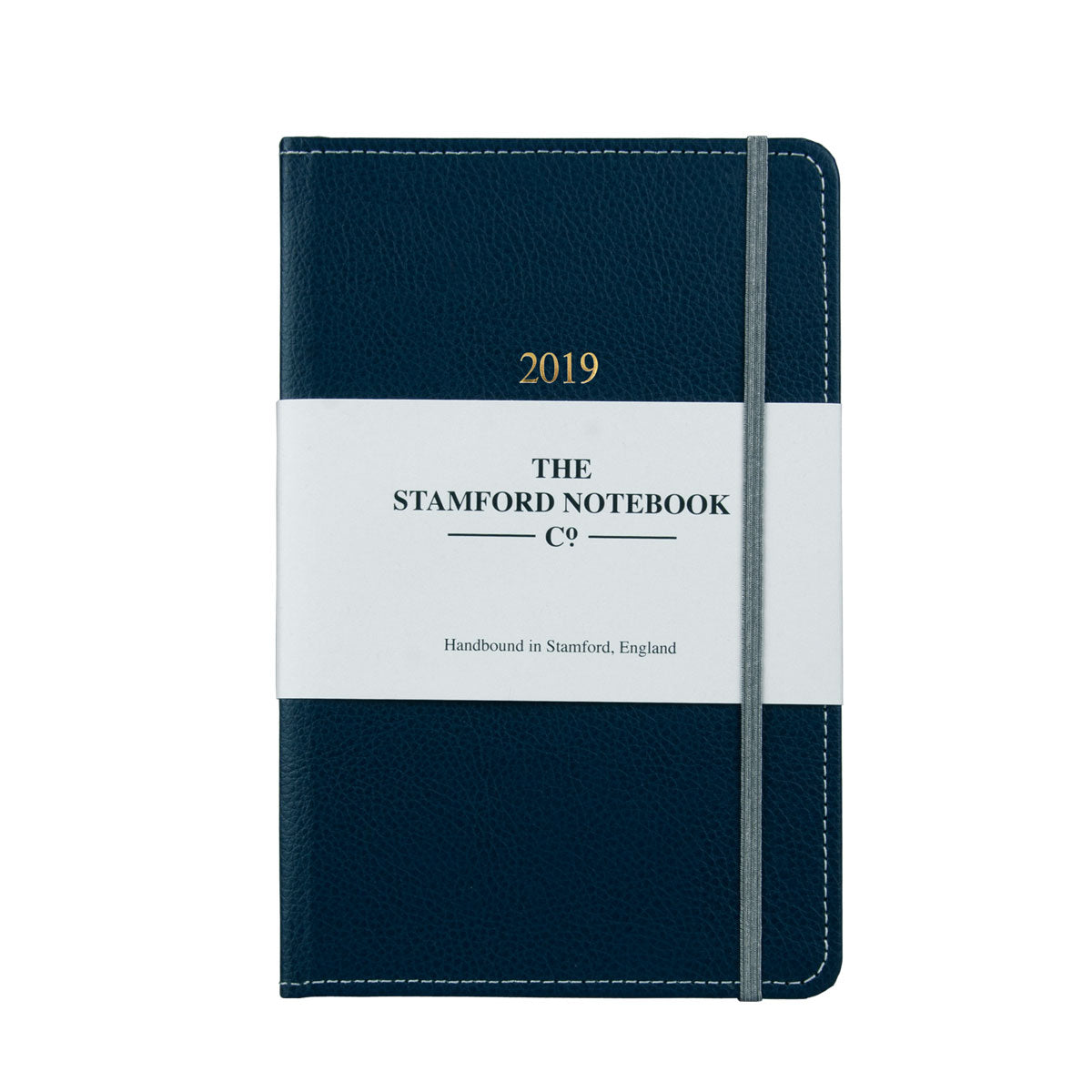 Marine Blue leather diary with grey stitching