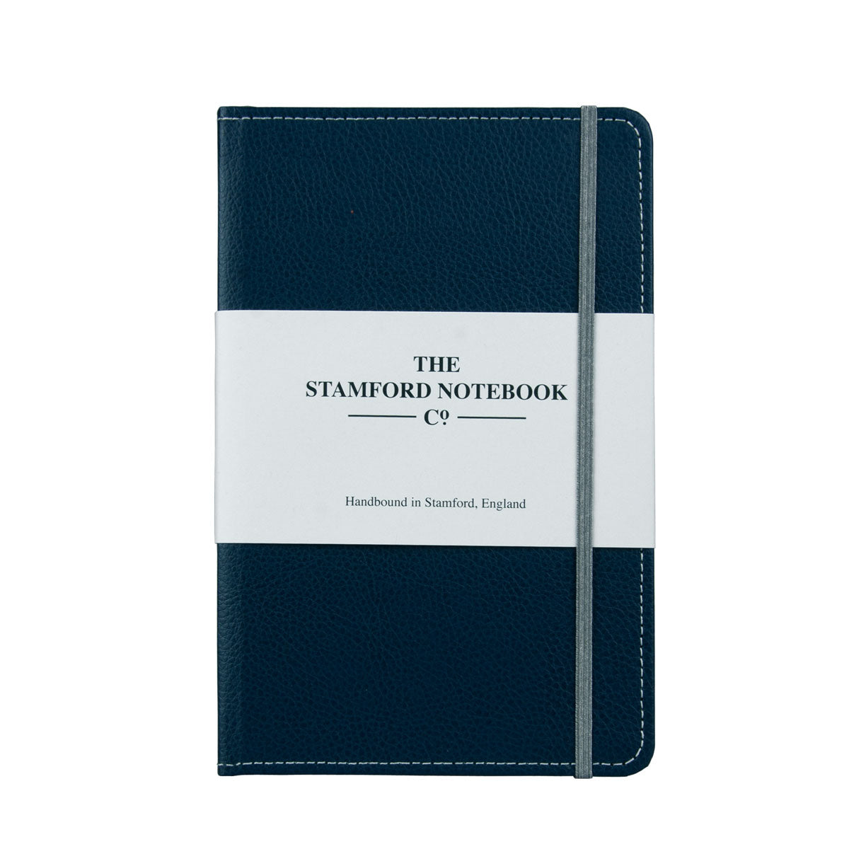 Marine Blue leather notebook with grey stitching