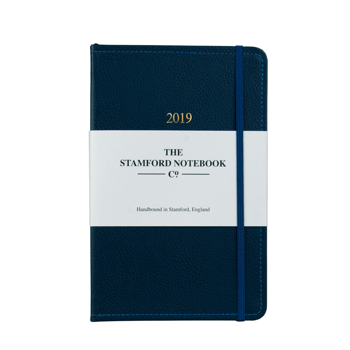 Marine Blue leather diary with navy stitching