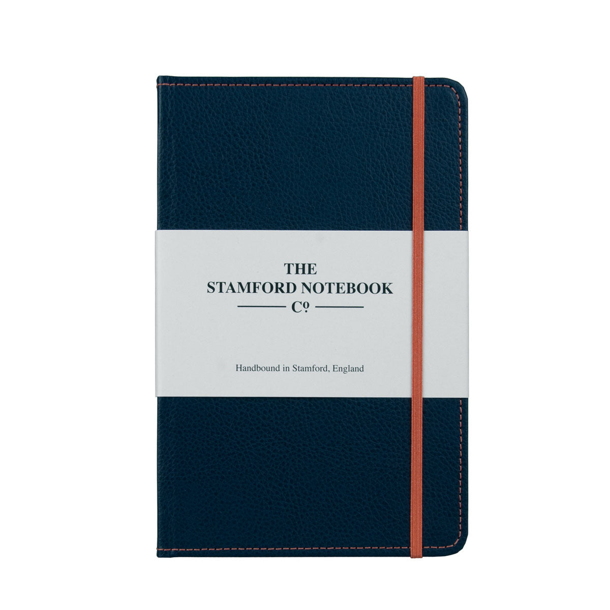 Marine Blue leather notebook with orange stitching