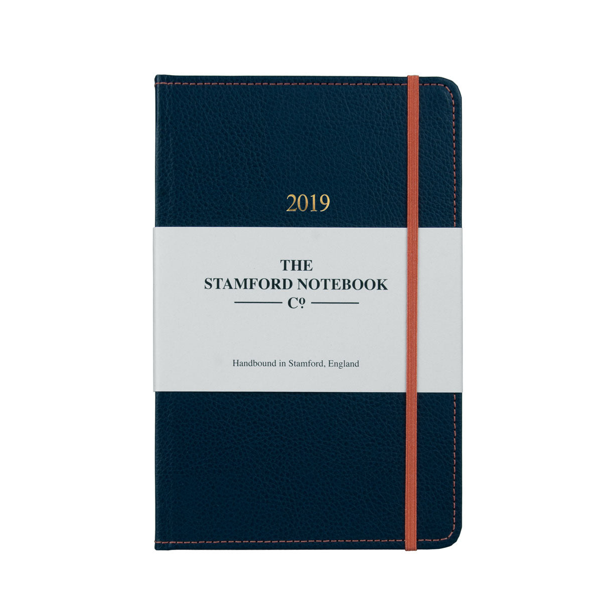 Marine Blue leather diary with orange stitching