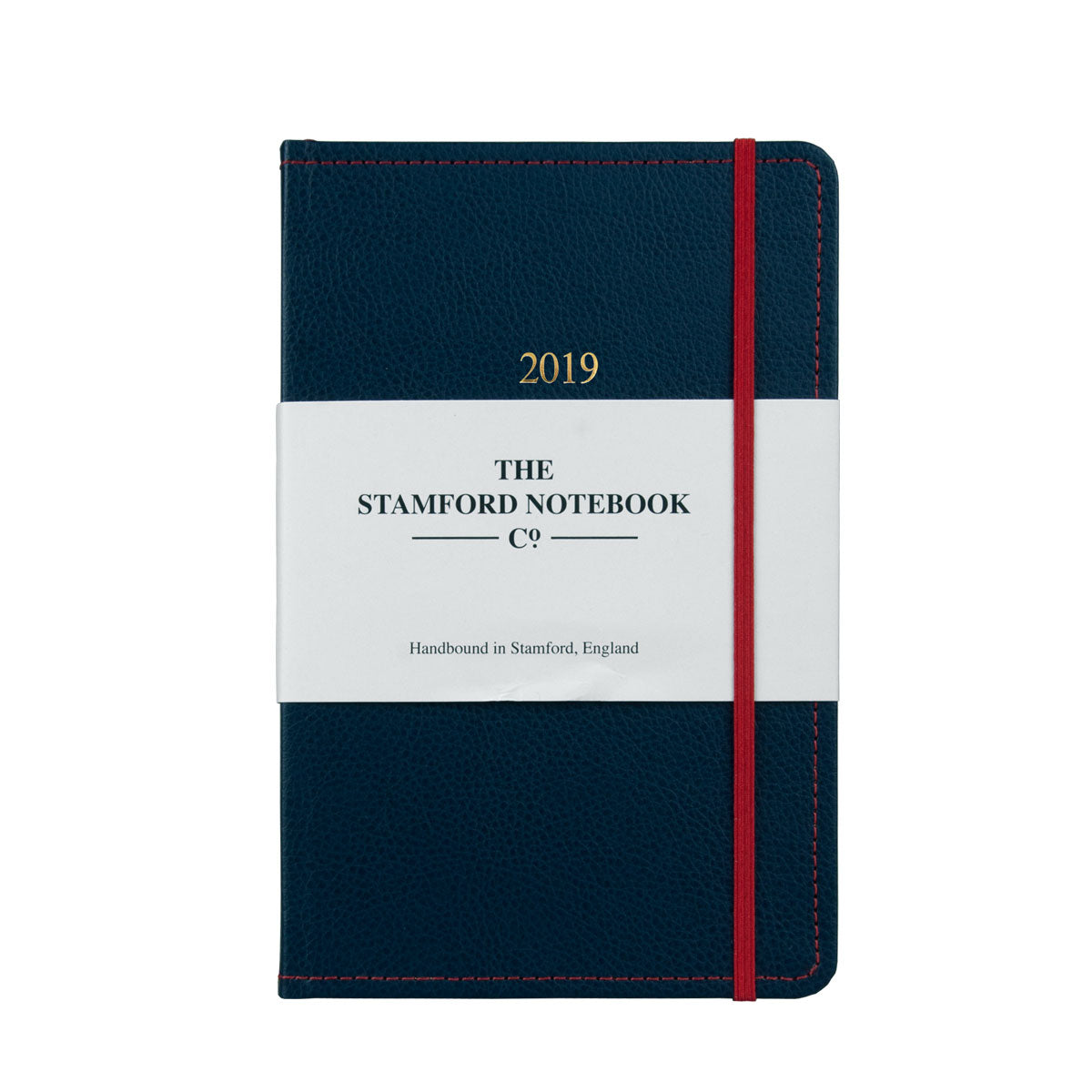 Marine Blue leather diary with red stitching