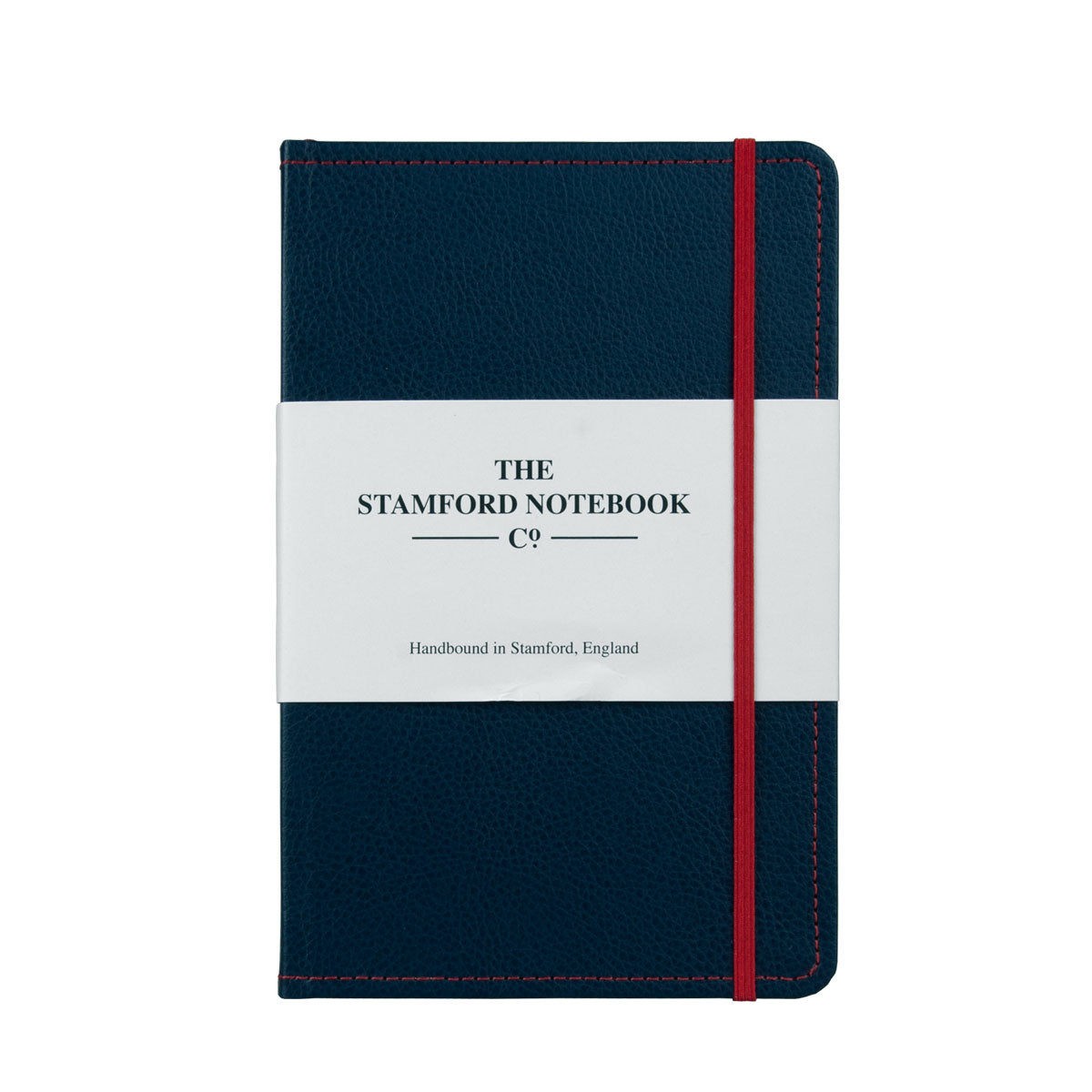 Marine Blue leather notebook with red stitching