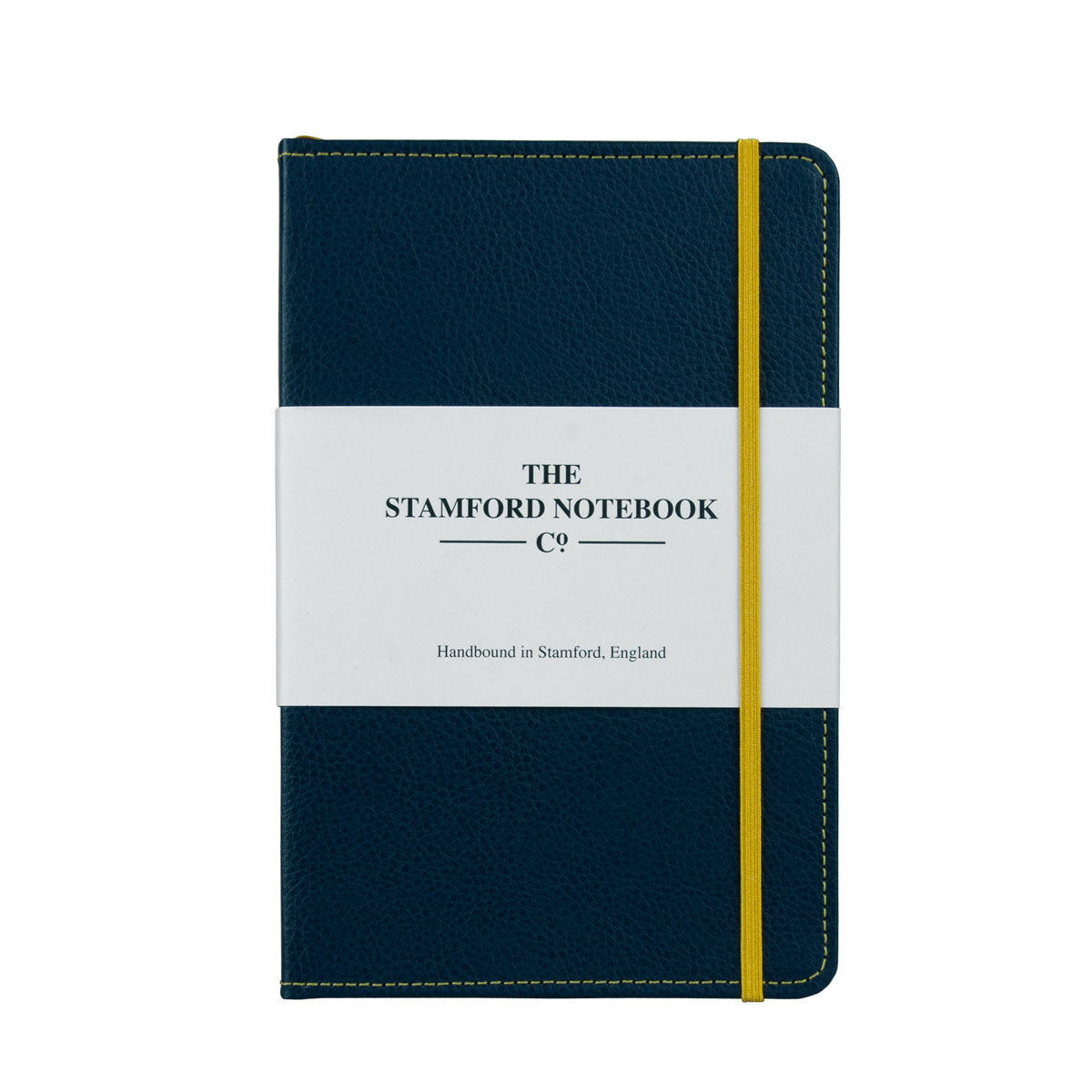 Marine Blue leather notebook with yellow stitching