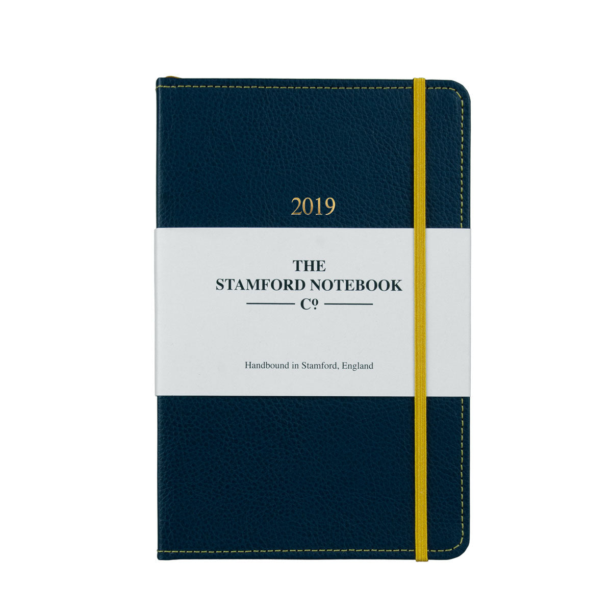 Marine Blue leather diary with yellow stitching