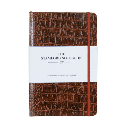 Mock Croc Embossed Notebook Brown