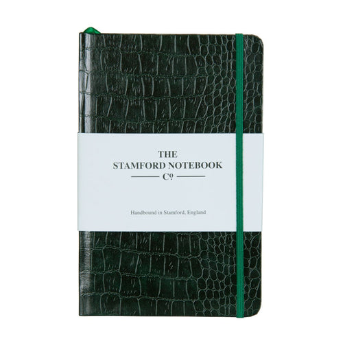 Mock Croc Embossed Notebook Bottle Green