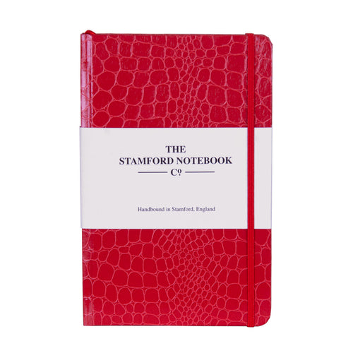 Mock Croc Embossed Notebook Raspberry Red