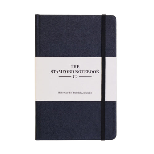 Navy blue recycled leather handbound notebook