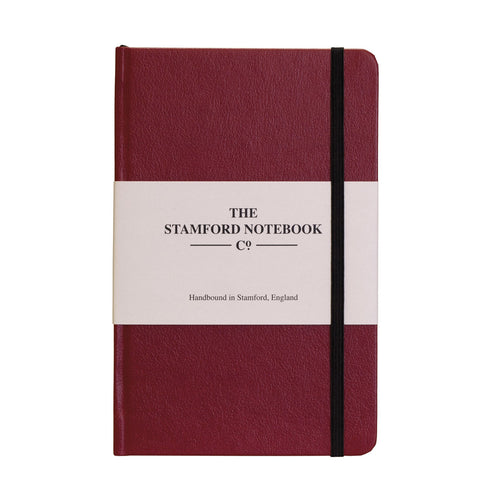 claret Recycled leather handbound notebook