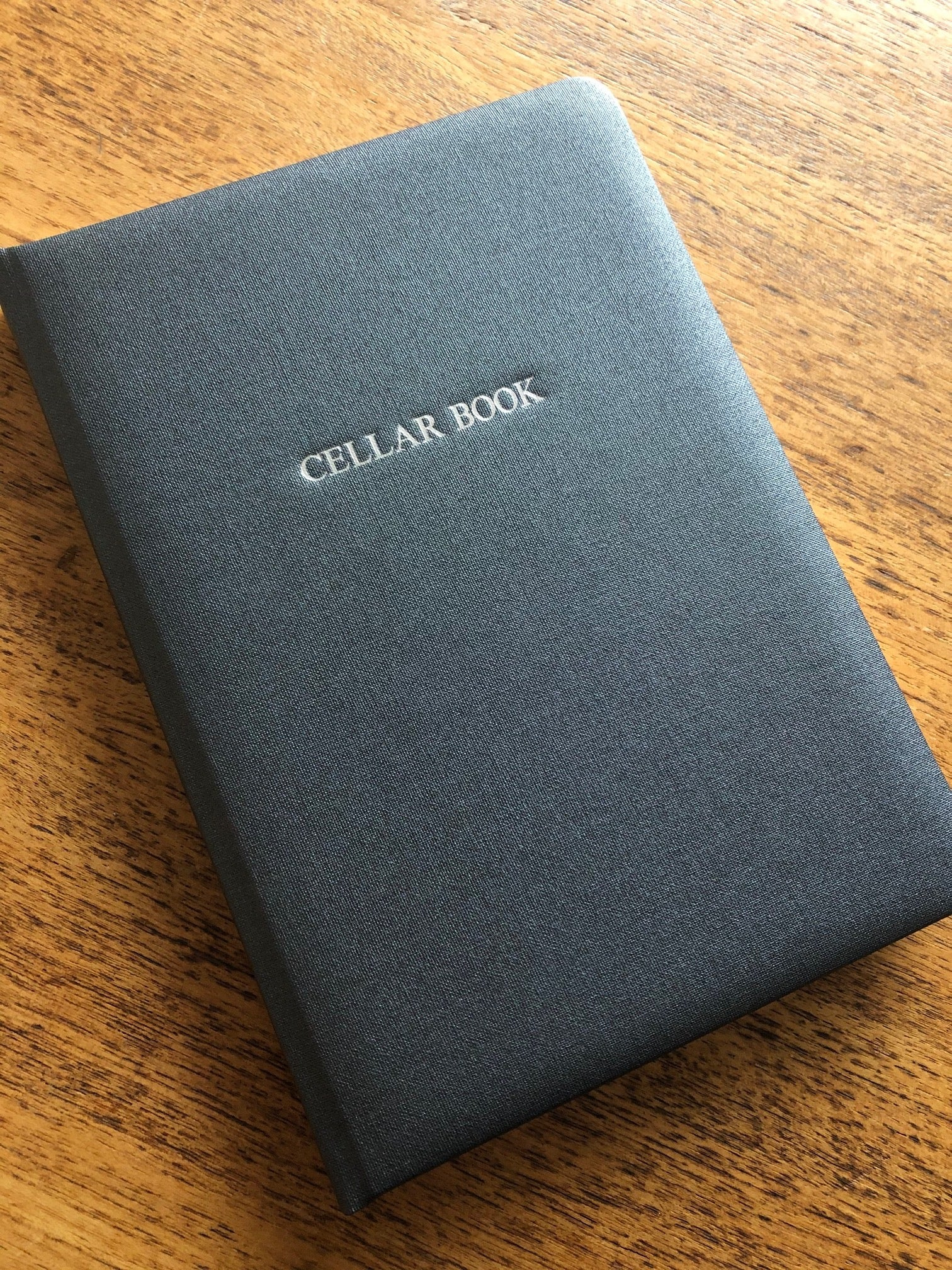 Image of Metallic Buckram Cellar Book in Steel Grey