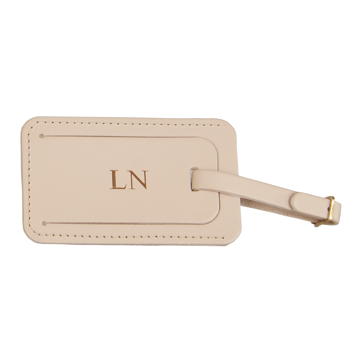 Leather Luggage Tag Champagne, part of the Luxury Leather Travel Set