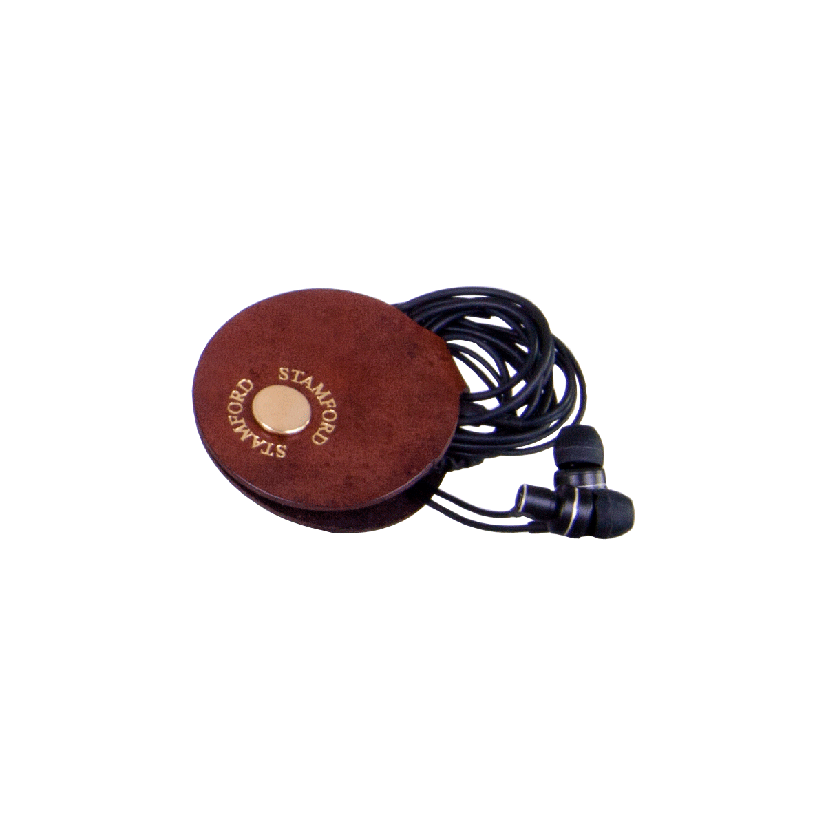 Leather Earphone Holder Mid Brown, part of the Luxury Leather Travel Set