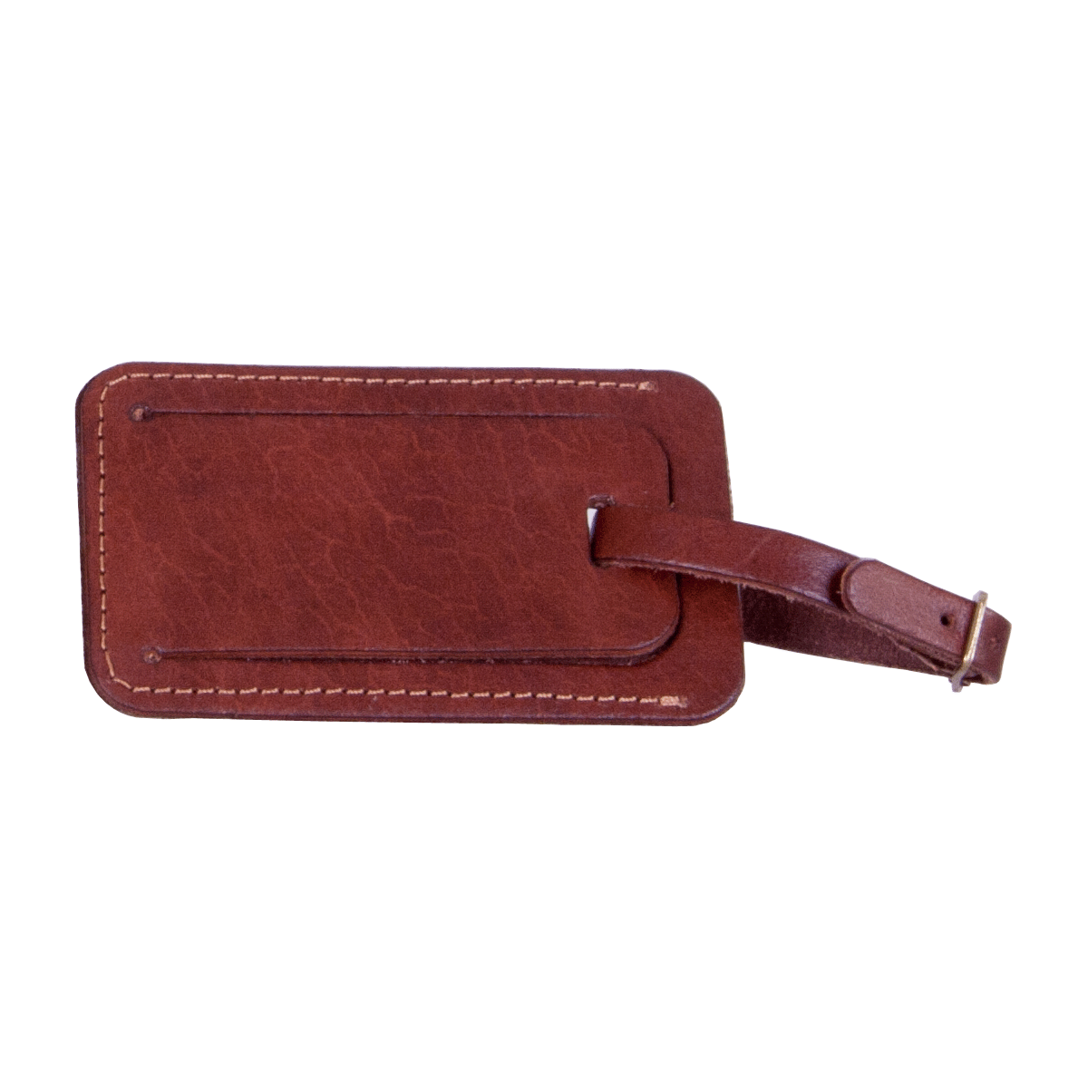 Leather Luggage Tag Mid Brown, part of the Luxury Leather Travel Set
