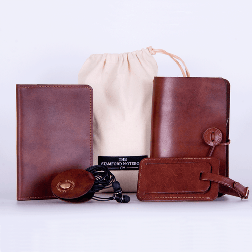 Luxury Leather Travel Set Mid Brown