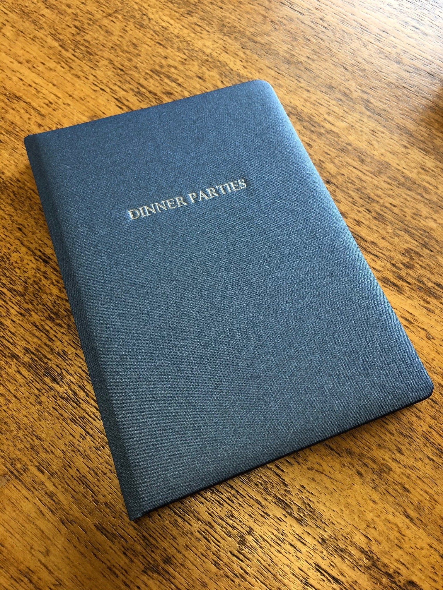 Image Of Metallic Buckram Dinner Party Book in Sapphire