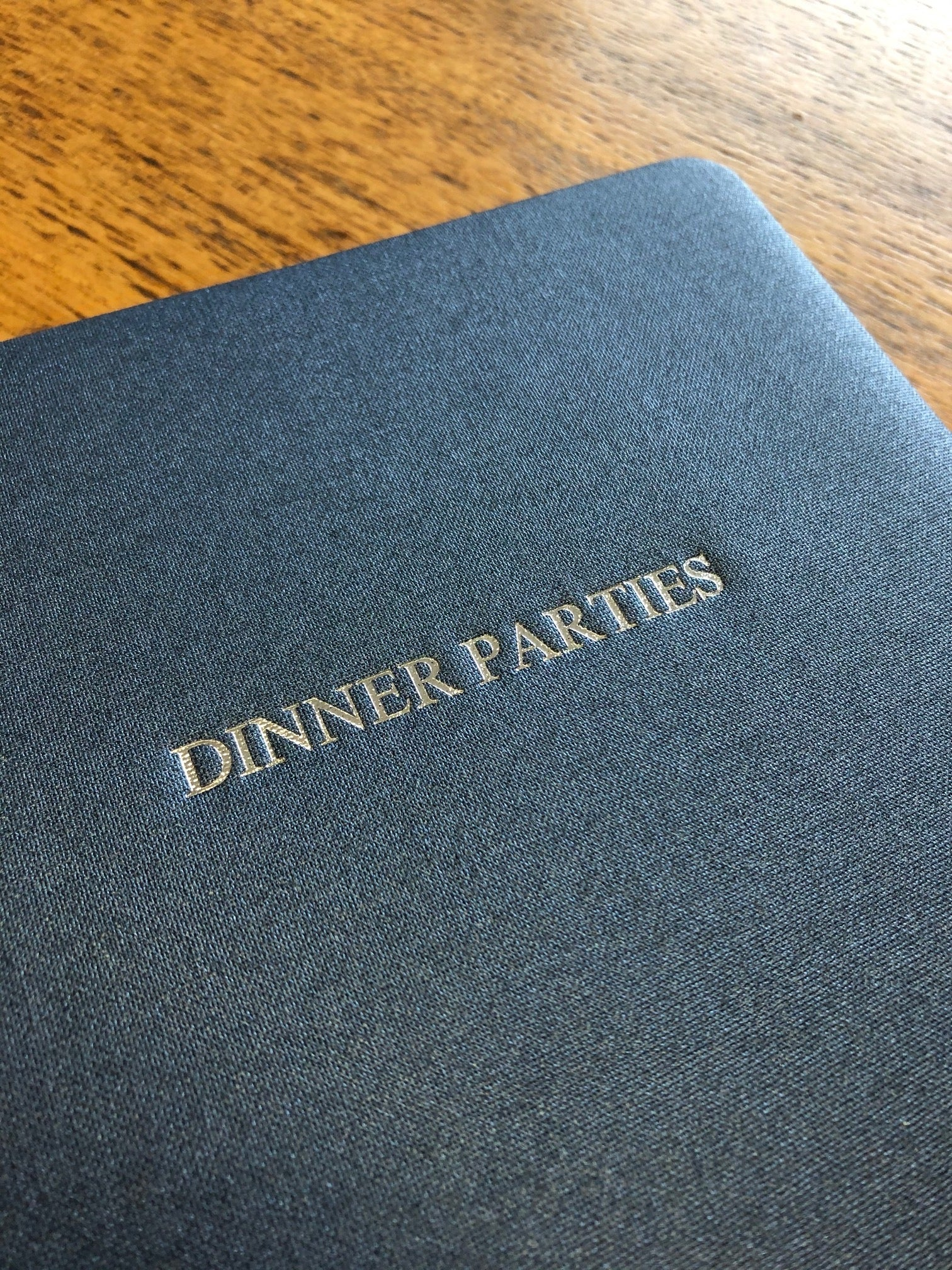 Text Image of Metallic Buckram Sapphire Dinner Party Book
