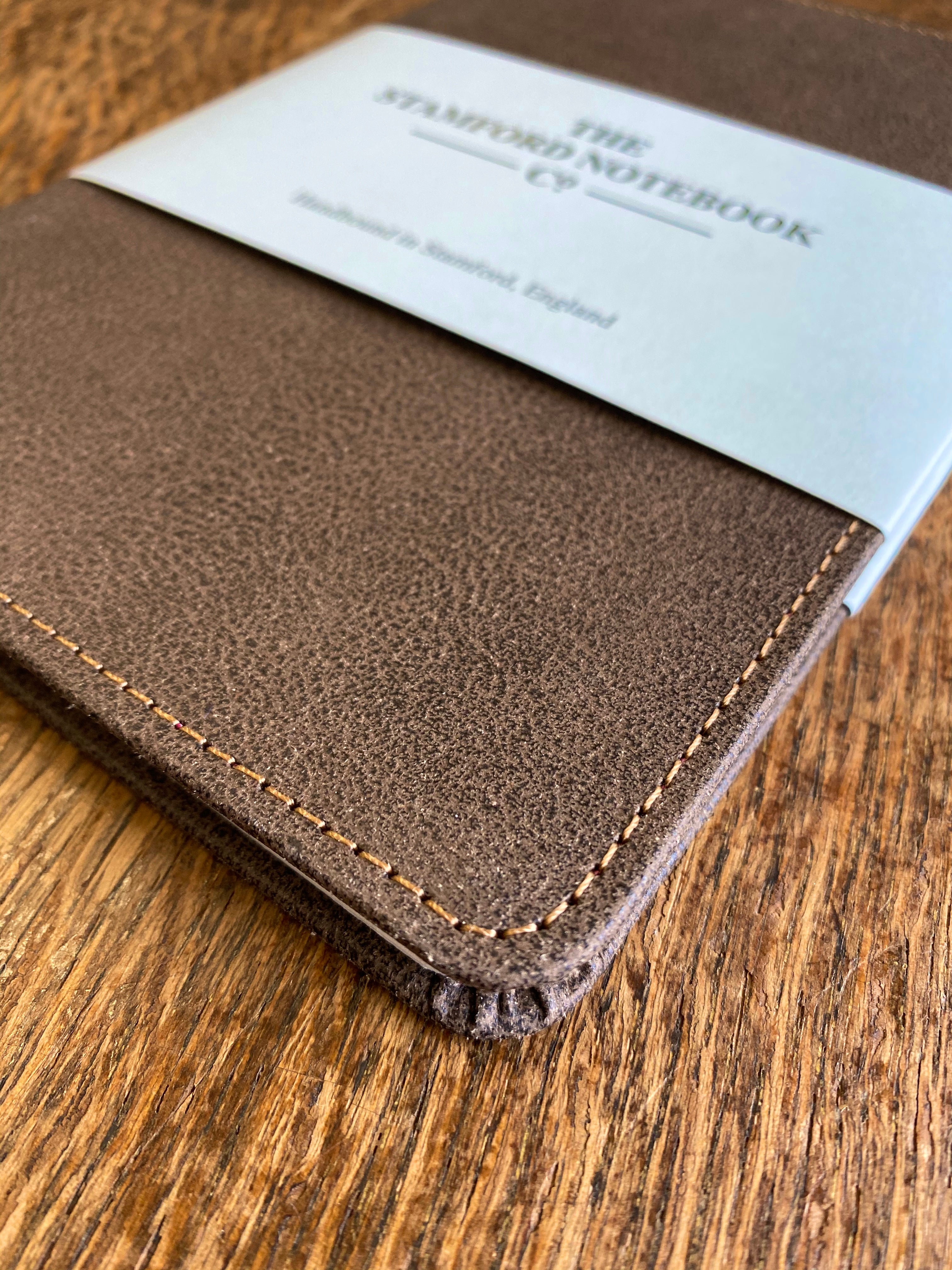Stitched Vintage Recycled Leather Notebook Chocolate