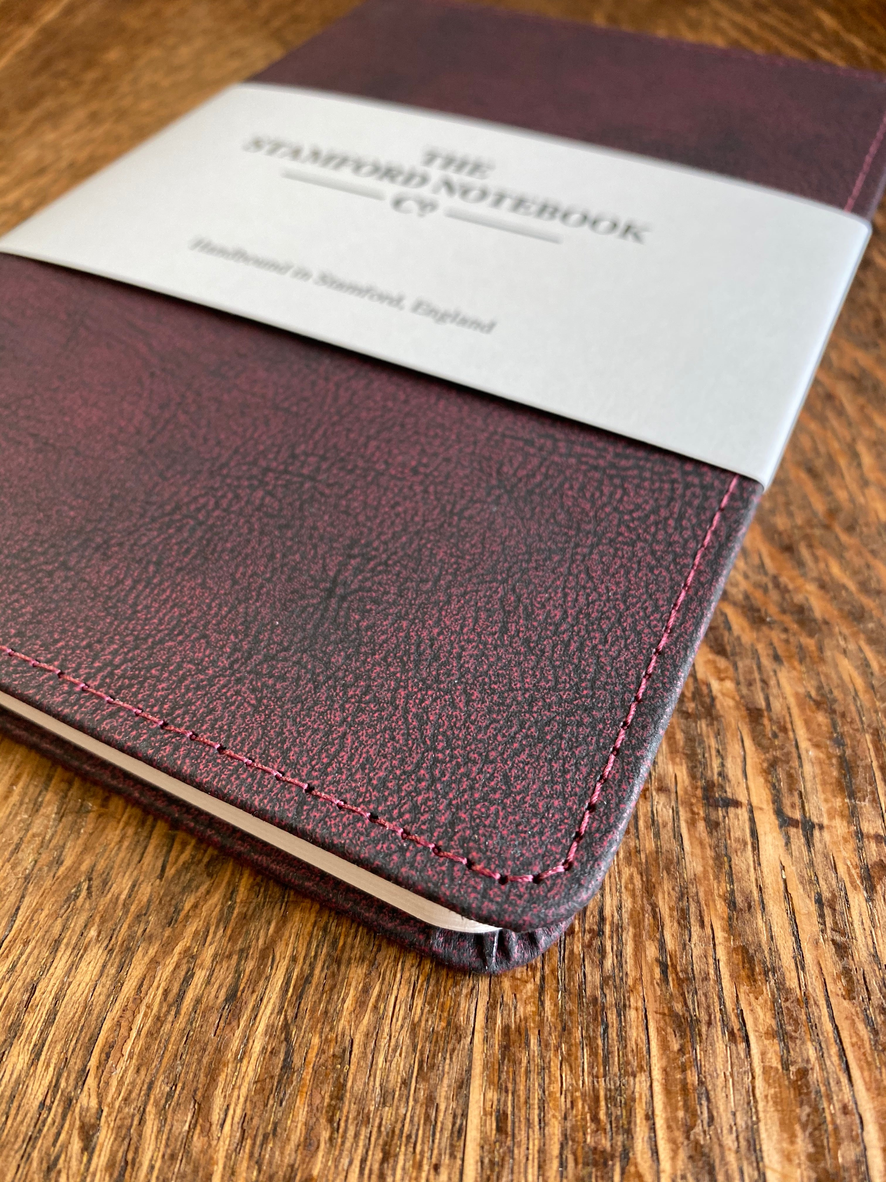 Stitched Vintage Recycled Leather Notebook plum