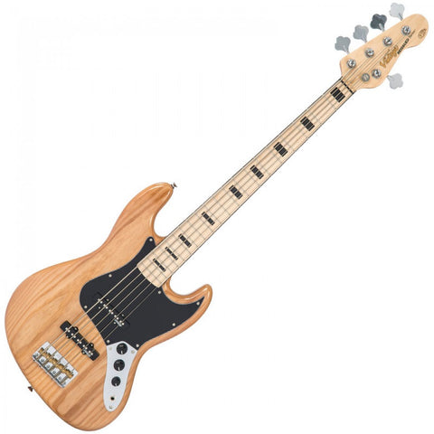 Vintage VJ75 Maple Board Reissued Bass Guitar 5-String Natural Ash